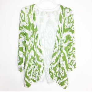 Chico's Green Ikat Open Cardigan Sweater Sz 3/XL